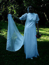 Vintage Original 60s Mat Satin Lace White Wedding Dress Detachable Train 10/12