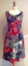 LAURA ASHLEY BROWN GREEN ORANGE FLORAL SHIFT DRESS SIZE 14 COTTON LINEN