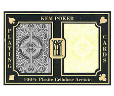 "KEM ""ARROW"" BLACK AND GOLD PLASTIC PLAYING CARDS POKER SIZE REGULAR INDEX *"