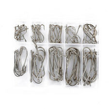 Practical 100pcs 10 Sizes Fresh Water Sea Fly Fishing Hooks Tackle Set With Box