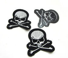 Hot 1pcs Embroidered Cloth Iron On Patch Sew Motif Applique  Cross Skull