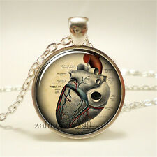 Vintage Heart Cabochon Silver plated Glass Chain 25mm Pendant Necklace!