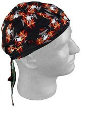 SKULL MALTESE CROSS Flames Biker FITTED BANDANA w/TIES DOO DO Du RAG Head Cap