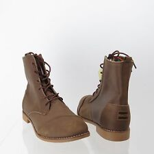 Women's TOMS Alpa Shoes Brown Leather Lace-up Ankle Combat Boots Size 11 M NEW!