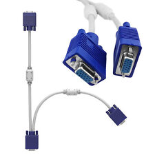 One PC to Two Monitors Connector Splitter VGA Cable 1 HD15 Male to 2 HD15 Female