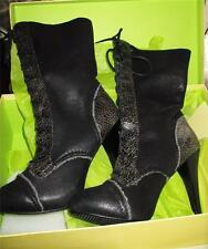 MAX STUDIO $179 BLACK SUEDE & SHEEP SKIN LACE UP MID-CALF BOOTS HEELS SZ 8.5 NIB