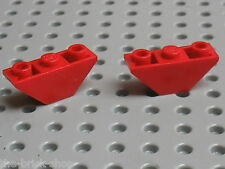 2x LEGO red slope brick 2341 / set 6340 4543 6763 6097 6766 6388 8232 1484 ...