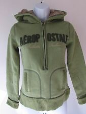 AEROPOSTALE Junior Women's Green 1/2 Zip Pullover Fleece Lined Fur Hoodie, sz S
