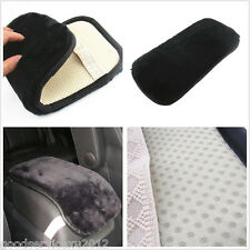 Practical Black PU Leather & Artificial Fur Auto Interior Center Console Pad Mat