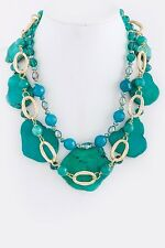 D20 Kim Lou e Designer Turquoise Green Stone Gold Statement Necklace $365