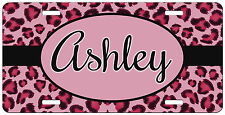 Custom Pink Cheetah Leopard Print Personalized License Plate Vanity Car Tag