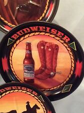 "Anheuser-Busch Budweiser Metal 6 Coaster Set  6 different designs  3.5"" $14.99"