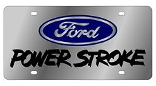 New Ford Blue Logo Power Stroke Stainless Steel License Plate