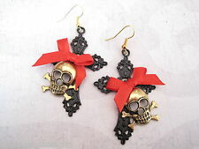 *GOLDEN SKULL BLACK CROSS RED BOW* Large PIRATE Earrings GP HALLOWEEN GOTHIC