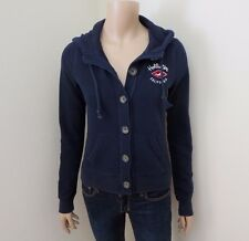 Hollister Womens Button Up Jacket Size XS Hoodie Turtleneck Sweater Navy Blue