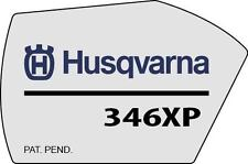 HUSQVARNA SILVER NAME LABEL DECAL/LOGO FOR 346XP CHAINSAW side metalic silver