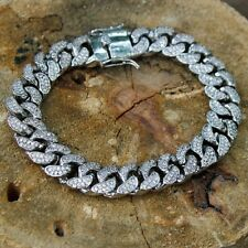 Men's 14k White Gold Over 925 D/VSS1 Diamonds Solid Cuban Link Bracelet 13mm 8""