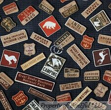 BonEful Fabric FQ Cotton Quilt Black Gray Brown Red Bear Lake Cabin Lodge Sign S