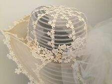 80's BOHO Bridal Hat Veil Ivory Wedding Floppy Hippie Long Train
