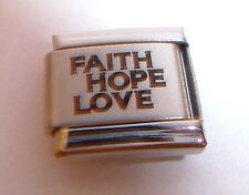 FAITH HOPE LOVE 9mm Italian Charm - fits Classic Starter Bracelets N257