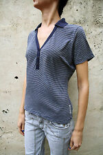 TJ Trussardi Jeans Lady Polo t-Shirt Top Stretch Striped Grey Blue Tee XL SUPER