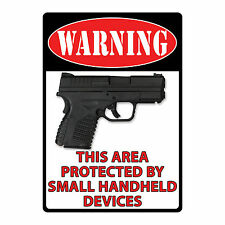 """GIFT - """"Protected By Small Handheld Devices"""" Tin Sign Man Cave Decor 1489"""