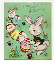 Vintage Pollyanna Easter Greeting Card Glitter Bunny Painting Eggs 1950's