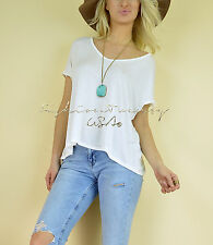 Solid IVORY Loose SLOUCHY Oversized Basic BOHO T-Shirt Knit V-Neck Casual Top S
