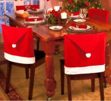 4Pcs Xmas Red Santa Clause Hat Cap Chair Back Covers Sets Dinner Party Decor NEW