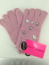 Women's BETSY JOHNSON Brand Pink FINGERLESS Gloves - $32 MSRP - 20%