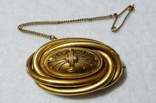 Vintage Victorian Handmade 18k Gold Oval Memorial Photo Brooch with Safety Chain
