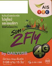 AIS DATA SIM 15 DAYS 3GB 4G 3G UNLIMITED DATA USA UAE TURKEY CANADA SOUTH AFRICA
