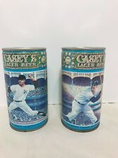 Lot of 2 Casey's Lager Beer Cans - Whitey Ford, Duke Snider - With Tabs Vintage