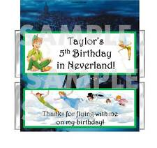PETER PAN NEVERLAND BIRTHDAY PARTY candy bar wrappers WENDY TINKERBELL HOOK