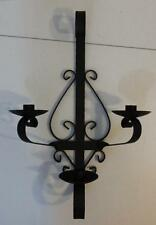 GOTHIC STYLE BLACK METAL WROUGHT IRON TAPER CANDLE HOLDER WALL SCONCE