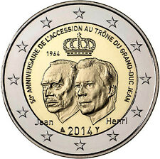 """2014 Luxembourg 2 Euro Uncirculated Coin """"Grand-Duke Jean's Accession 50 Years"""""""