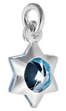 5 Star Argent sterling charmes avec baby blue crystal & Open Jump Ring, 9 mm