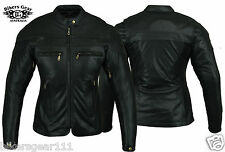 NEW STURGIS LADYS LEATHER MOTORCYCLE JACKET ZIP OUT LINER BRASS ZIP SIZE 20