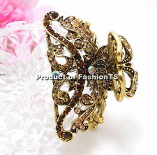 Beautiful Wavy Vintage Brown Metal Alloy Rhinestone Crystal Hair Claws Clip