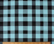 "SNUGGLE FLANNEL *1"" BUFFALO CHECK/PLAID* BLACK/TURQUOISE 100% Cotton Fabric BTY"