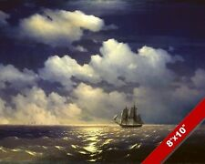 BRIG WARSHIP SAILBOAT AFTER NAVAL BATTLE SEASCAPE PAINTING ART REAL CANVAS PRINT