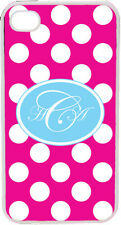 Fuschia Polka Dot Pattern iPhone 4 4S Custom Fancy Script Monogrammed Case Cover