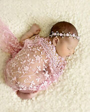 Baby Girl Boy Clothes Newborn Infant Lace Wrapped Blanket Photography Props Pink