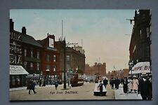 R&L Postcard: Sheffield High Street, Superb Animated View with Tram & Shops