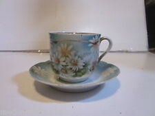 VINTAGE MADE IN GERMANY #83 MUSTACHE TEA CUP AND SAUCER SEA GREEN FLORAL DESIGN