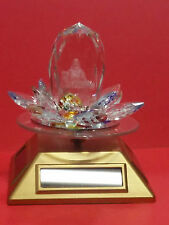 LAUGHING BUDDHA ON A  MULTI COLOR SOLAR REVOLVING  CRYSTAL LOTUS