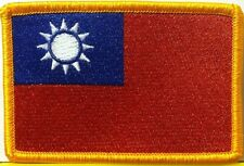 TAIWAN Flag Embroidery Iron-On Patch Military Shoulder Emblem Gold Border