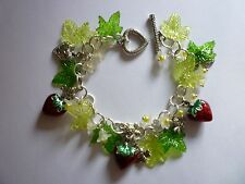 Silver Plated Charm Bracelet Strawberry Fields Forever with Bee's