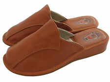 Womens Ladies Natural Calf Leather Slipper Mules Clogs Brown Cream Black