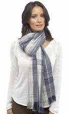 Tom Franks Ladies Checked Fringe Scarf Blue